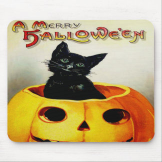 Black Cat In Jack O' Lantern Mouse Pad