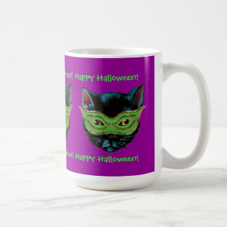 Black Cat in Mask Coffee Mug
