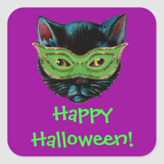 Black Cat in Mask Square Sticker
