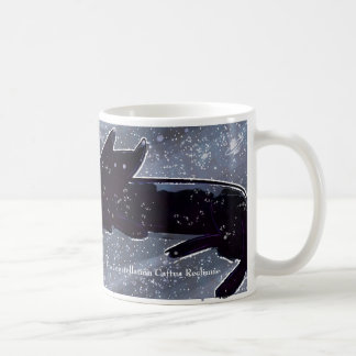 Black cat in night sky of stars coffee mug