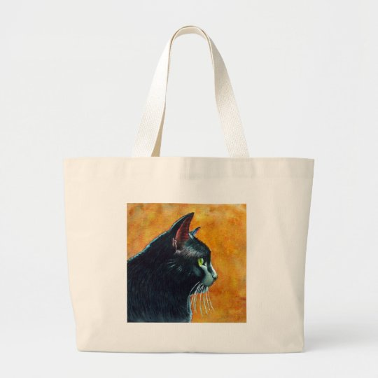 Black Cat in Profile, Tickles Large Tote Bag