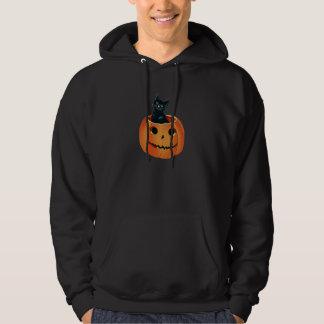 Black Cat in Pumpkin Hoodie