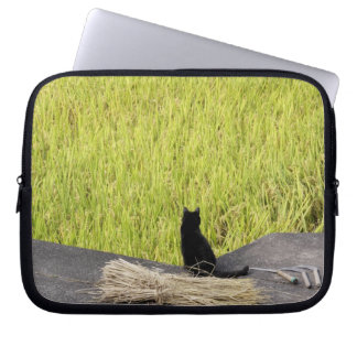Black Cat in Rice Paddy Laptop Sleeve