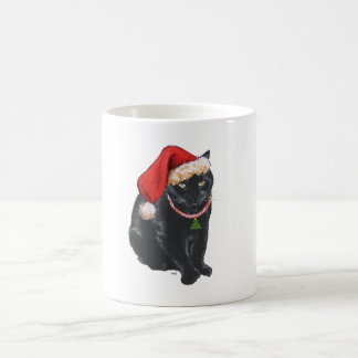 Black Cat in Santa Hat Coffee Mug