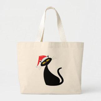 Black Cat in Santa Hat Large Tote Bag