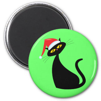 Black Cat in Santa Hat Fridge Magnet
