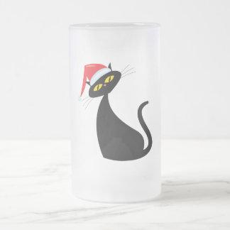 Black Cat in Santa Hat Coffee Mugs