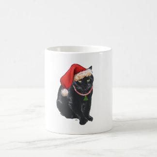 Black Cat in Santa Hat Coffee Mug