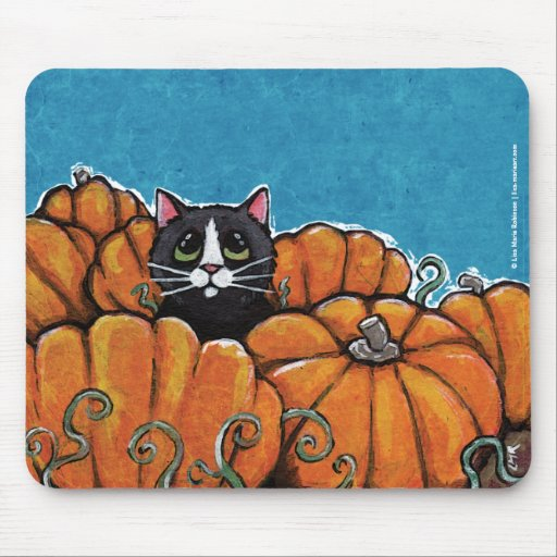 Black Cat in the Pumpkin Patch   Halloween Mousepa Mouse Pad