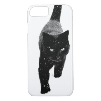 Black Cat in the Snow - iPhone 7 Case