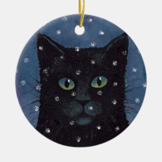 Black Cat in the Snow Ornament