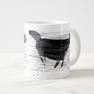 Black cat in wind and air jumbo mug