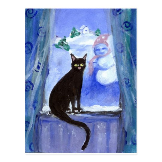 Black cat in window postcard