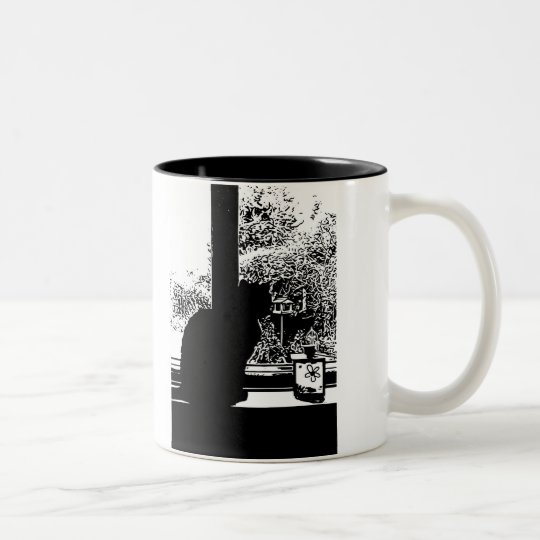 Black cat in window Two-Tone coffee mug