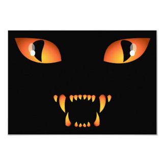 "Black Cat Invitations Personalized Halloween Cards 3.5"" X 5"" Invitation Card"