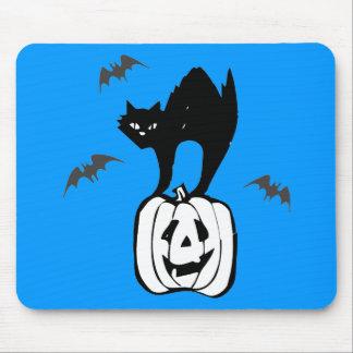 Black Cat Jack-o Bats Blue Mousepad