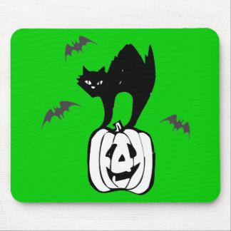 Black Cat Jack-o Bats Green Mouse Pad