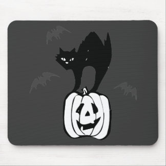 Black Cat Jack-o Bats Mouse Pads