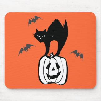 Black Cat Jack-o Bats Orange Mousepad