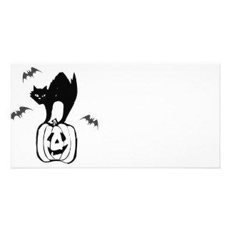 Black Cat Jack-o Bats Personalized Photo Card
