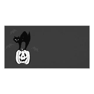 Black Cat Jack-o Bats Photo Greeting Card