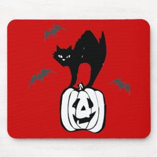 Black Cat Jack-o Bats Red Mousepad
