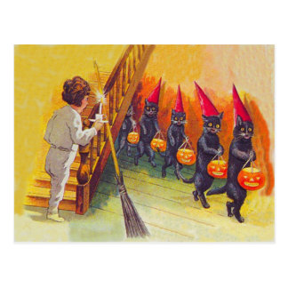 Black Cat Jack O Lanter Pumpkin Broom Postcard