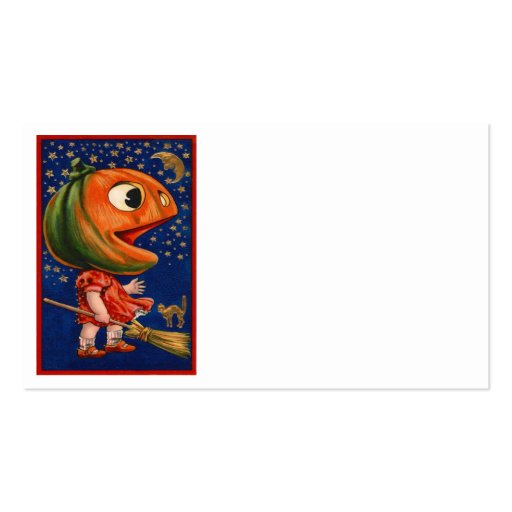 Black Cat Jack O Lantern Pumpkin Moon Stars Business Card Templates