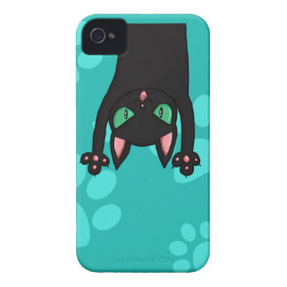 Black Cat jumping out iPhone 4 Cases