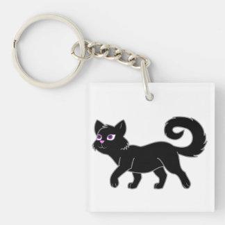 Black Cat Single-Sided Square Acrylic Keychain