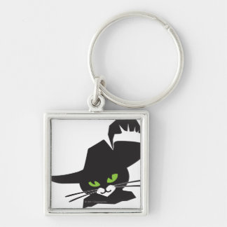 Black Cat Silver-Colored Square Key Ring
