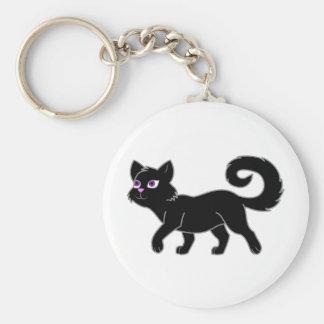 Black Cat Basic Round Button Keychain
