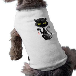 Black Cat Kills Sleeveless Dog Shirt