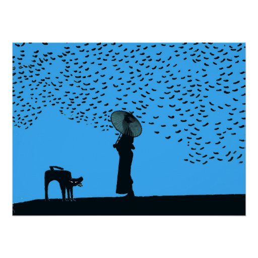 Black Cat, Lady & Birds Poster