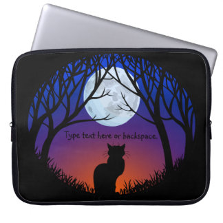 Black Cat Laptop Sleeve Personalize Cat Lover Case
