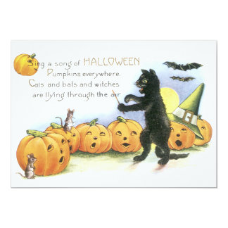 Black Cat Leading Jack O' Lantern Halloween Choir Card