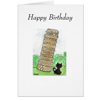 BLACK CAT LEANING TOWER OF PISA BIRTHDAY CARD