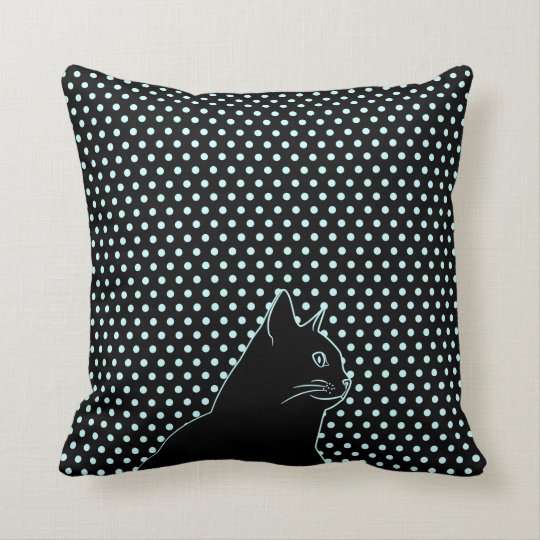 Black cat line drawing with polka dots cushion