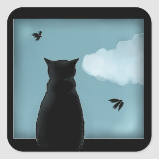 Black Cat Looking Out Window At Heaven Square Sticker