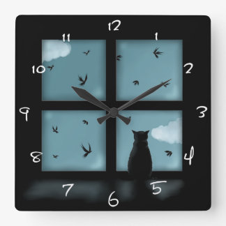 Black Cat Looking Out Window At Heaven Square Wall Clock
