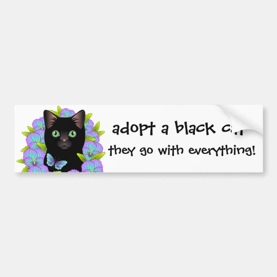 Black Cat Love Adopt a Shelter Cat! Floral