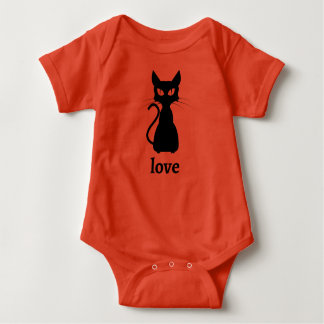 Black Cat Love Bodysuit in Orange