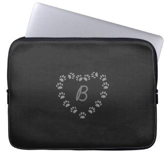 Black Cat Love Paw Heart Monogram Laptop Sleeve