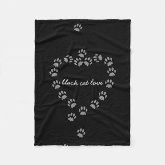 Black Cat Love Paw Print Heart Fleece Blanket