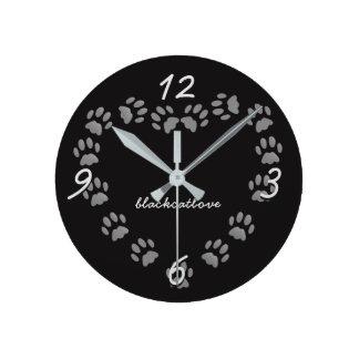 Black Cat Love Paw Prints Heart Wall Clock