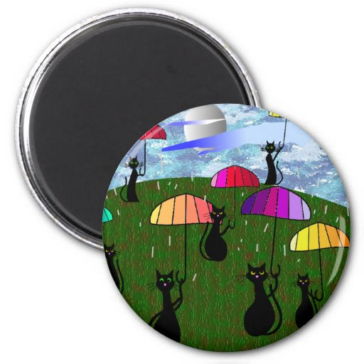 Black Cat Lovers Art Gifts 6 Cm Round Magnet