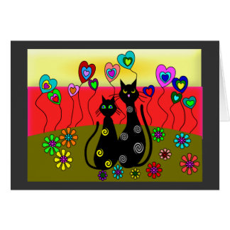 Black Cat Lovers Art Gifts Greeting Cards