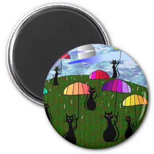 Black Cat Lovers Art Gifts Magnet