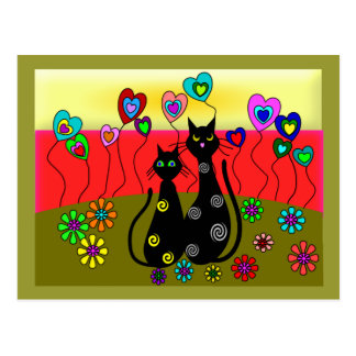 Black Cat Lovers Art Gifts Postcards