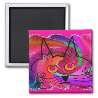 Black Cat Lovers Art Gifts Square Magnet